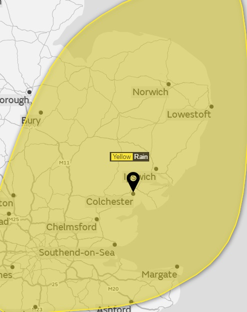 Met Office warning for heavy rain and lightning